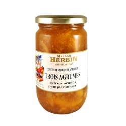 Trois agrumes : CItron - Orange Douce - Pamplemousse- Confiture Artisanale