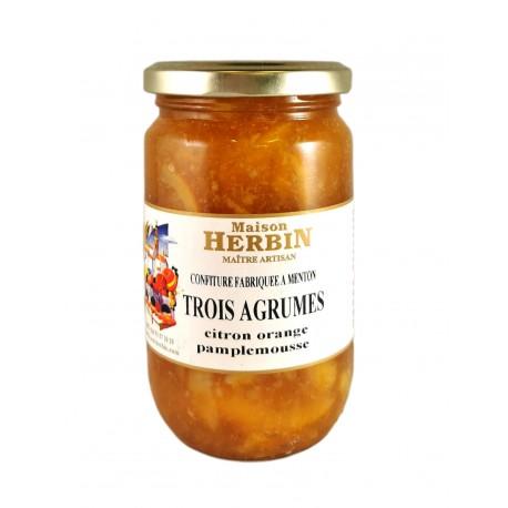 Trois agrumes : CItron - Orange Douce - Pamplemousse- Confiture Artisanale