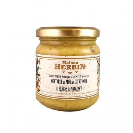 Moutarde au miel de citronnier et aux herbes de provence